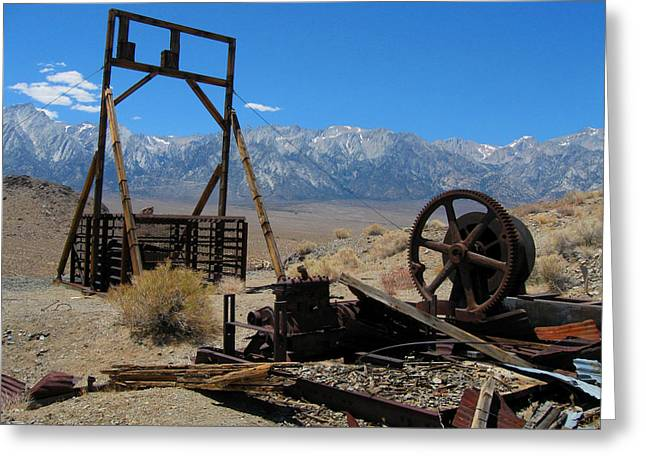 Abandoned Mine With View Of Eastern Sierras Greeting Card