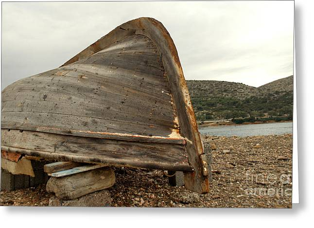 Unpainted Greeting Cards - Abandoned Nafplio Fishing Boat Greeting Card by Deborah Smolinske