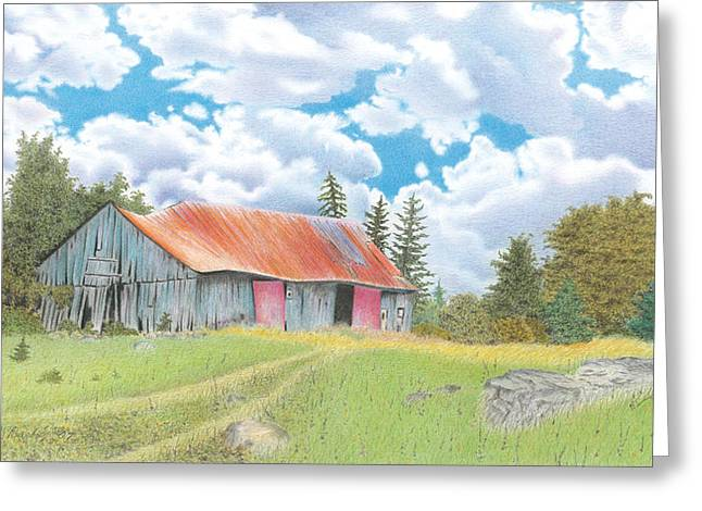 Abandoned Old Barn Greeting Card by Wilfrid Barbier
