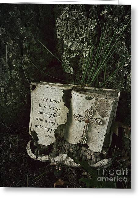 Abandoned Old Bible In A Cemetery Greeting Card by Amy Cicconi
