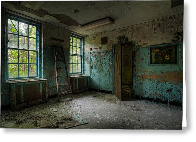 Greeting Card featuring the photograph Abandoned Places - Asylum - Old Windows - Waiting Room by Gary Heller