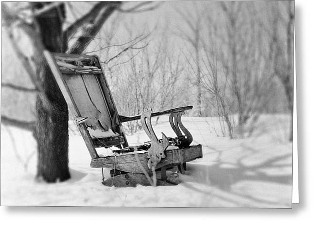 Abandoned Rocking Chair In Woods Greeting Card by Donald  Erickson