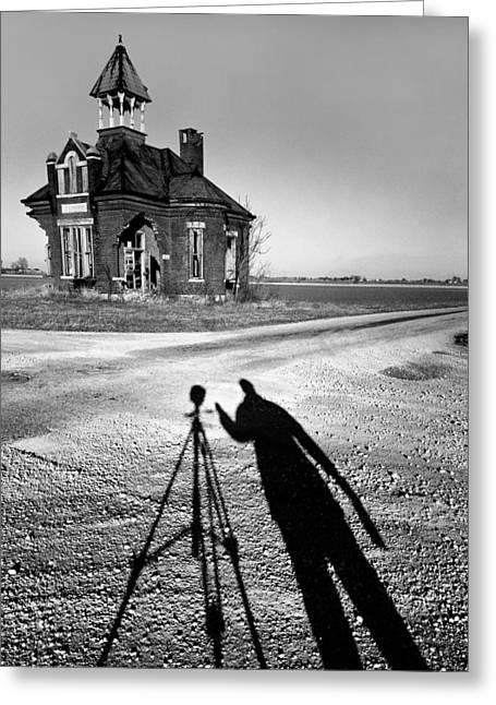 Abandoned School House And My Shadow Circa 1985 Greeting Card by John Hanou