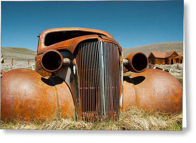 Abandoned Shell Of American Car Greeting Card by Celso Diniz