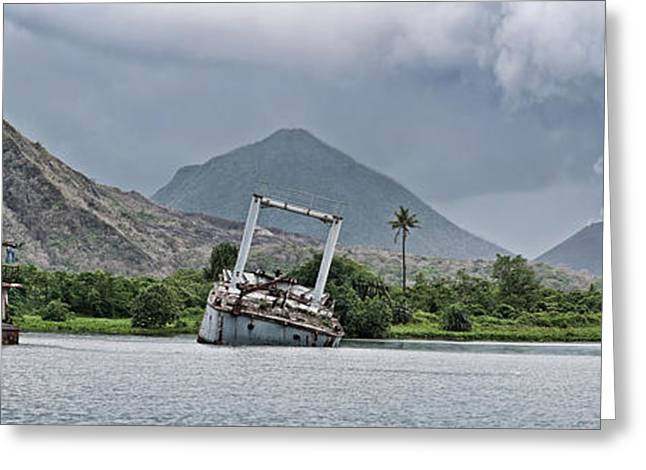 Abandoned Ships With Volcano Greeting Card
