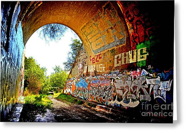 Abandoned Train Tunnel South Of The Old Train Roundhouse At Bayshore Near San Francisco  Greeting Card by Jim Fitzpatrick