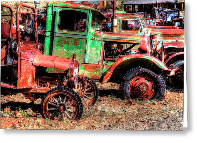 Abandoned Trucks, Jerome, Yavapai Greeting Card by Panoramic Images