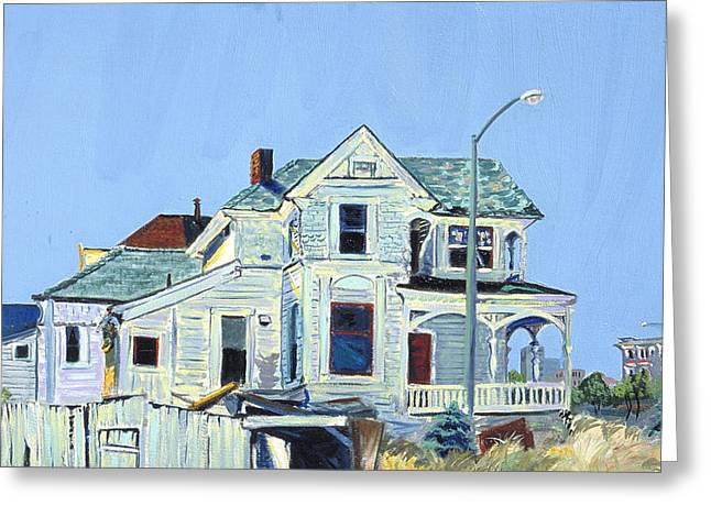 Greeting Card featuring the painting Abandoned Victorian In Oakland  by Asha Carolyn Young