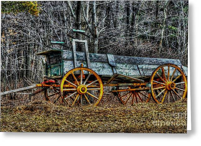 Abandoned Wagon Edge Of Field Greeting Card by Dan Friend