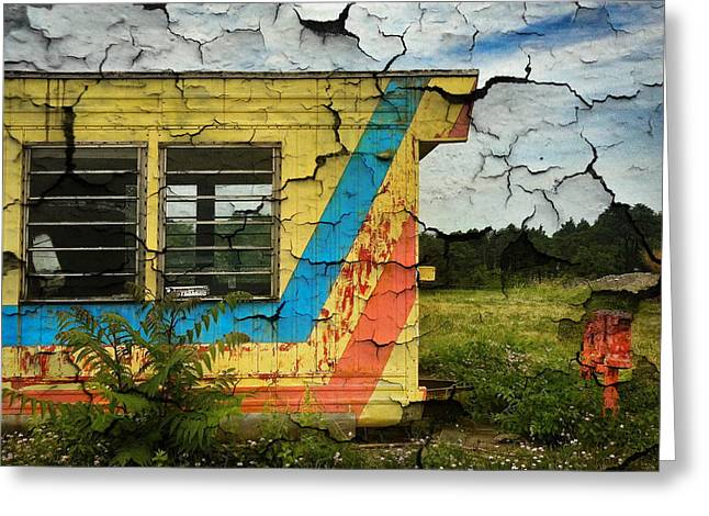Abandoned Yellow Trailer Greeting Card by Amy Cicconi