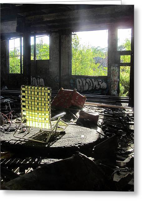 Abaondoned Warehouse W Lawn Chair Greeting Card