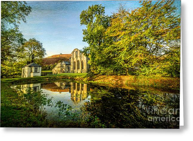 Abbey Lake Autumn Greeting Card by Adrian Evans