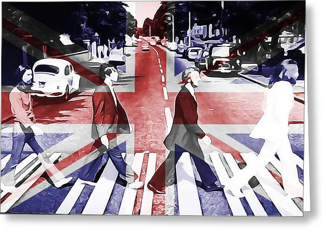 Abbey Road Union Jack Greeting Card by Dan Sproul