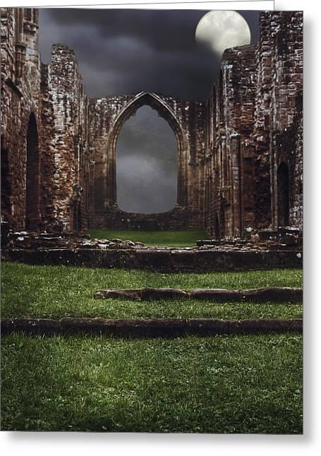Abbey Steps Greeting Card by Amanda Elwell