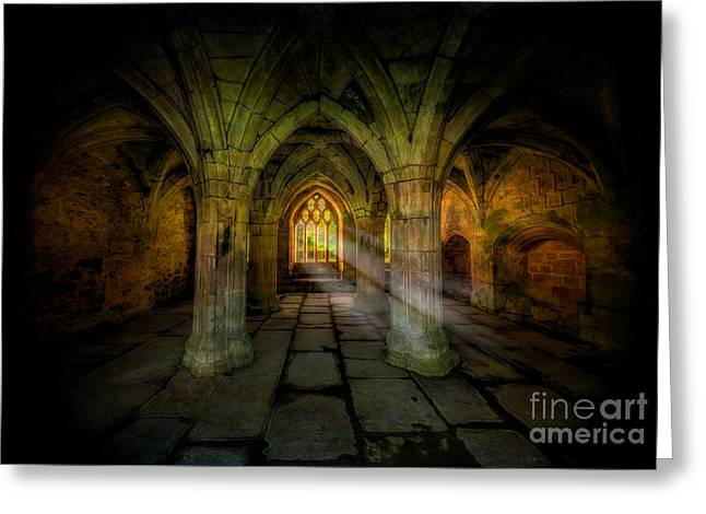Abbey Sunlight Greeting Card by Adrian Evans