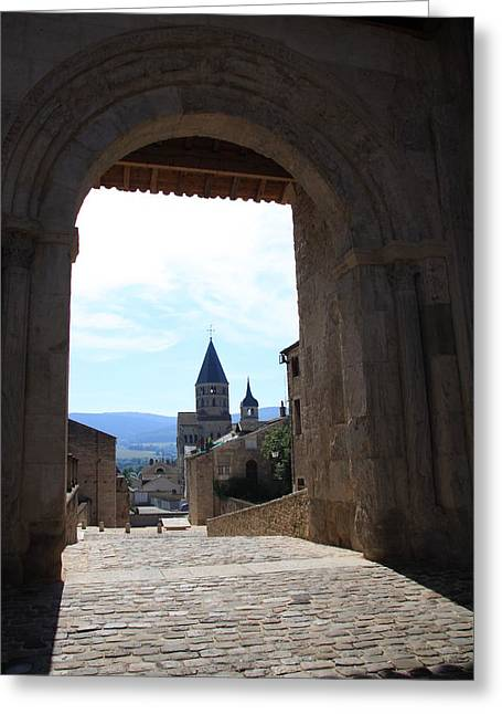 Abbey Through Doorway - Cluny Greeting Card by Christiane Schulze Art And Photography