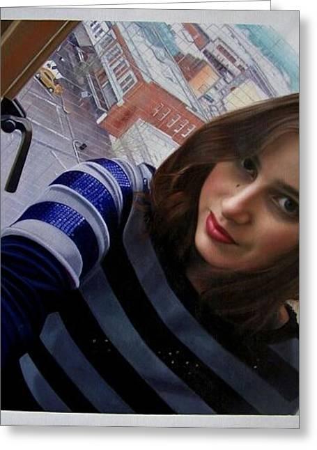 Abby In Window Greeting Card