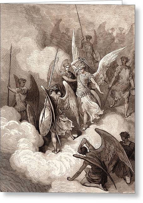 Abdiel And Satan, By Gustave DorÉ. Gustave Dore Greeting Card