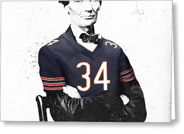 Abe Lincoln In A Walter Payton Chicago Bears Jersey Greeting Card by Roly Orihuela