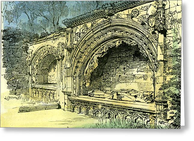 Aberdeen Bishop Dunbars Tomb In The Old Machar Cathedral Greeting Card by English School
