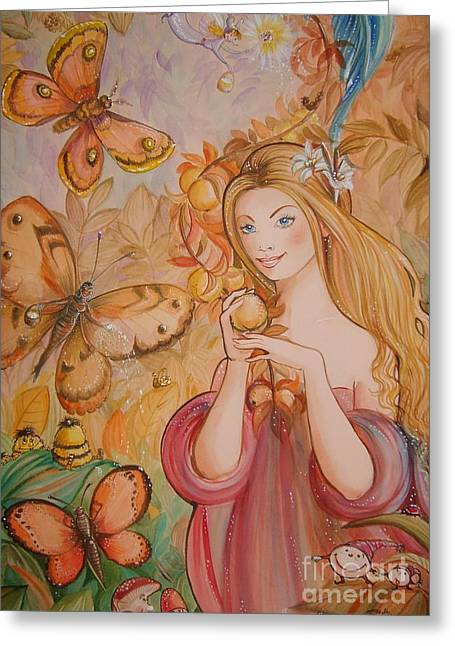 Abigail In The Golden Forest Greeting Card by Ottilia Zakany