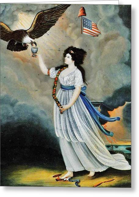 Abijah Canfield Liberty In The Form Of The Goddess Of Youth Giving Support To The Bald Eagle 1800 No Greeting Card by MotionAge Designs
