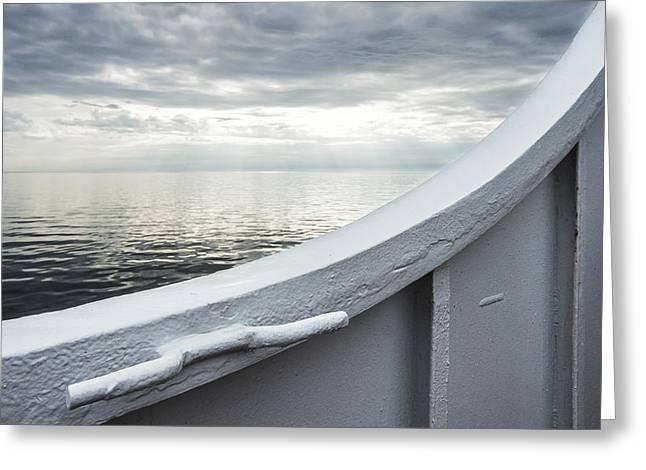 Aboard The Ferry Greeting Card by Arkady Kunysz