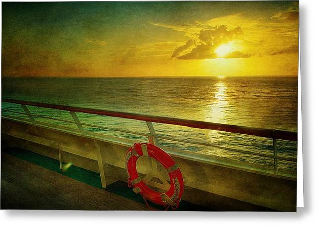 Aboard The Ship Greeting Card by Kathy Jennings