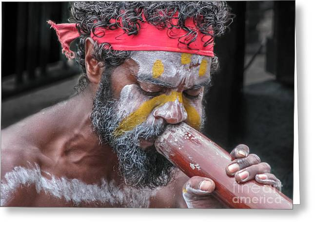 Aboriginal Playing Didgeridoo Greeting Card
