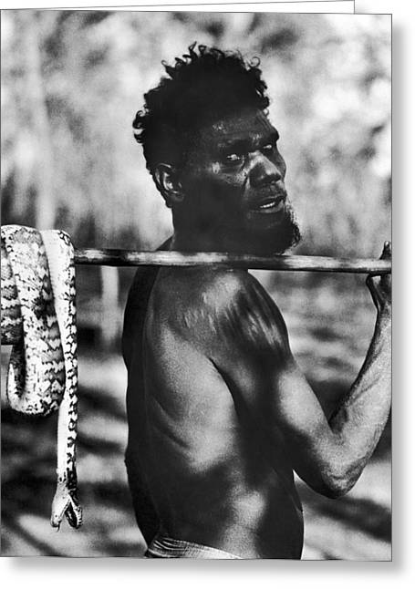 Aborigine With Snake Greeting Card by Underwood Archives