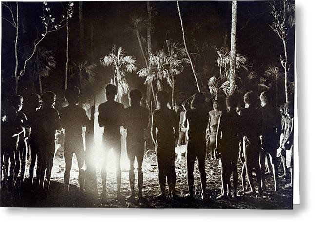 Aborigines At Corroboree Greeting Card by Underwood Archives
