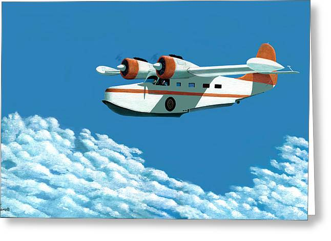 Greeting Card featuring the painting Above It All  The Grumman Goose by Gary Giacomelli