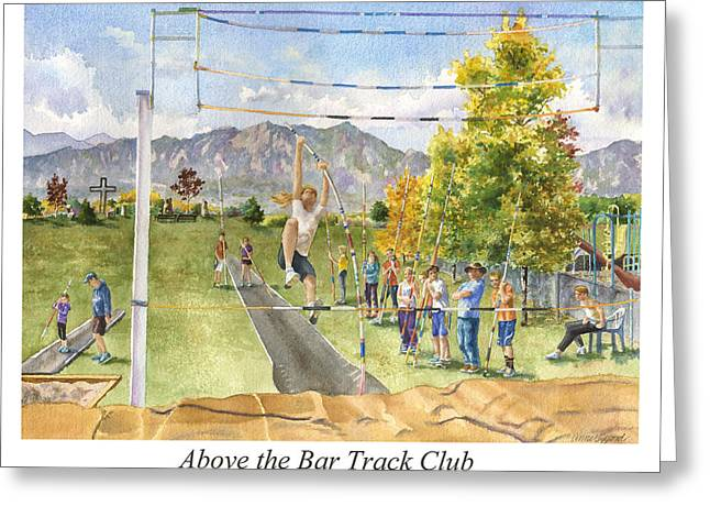 Above The Bar Track Club Poster Greeting Card