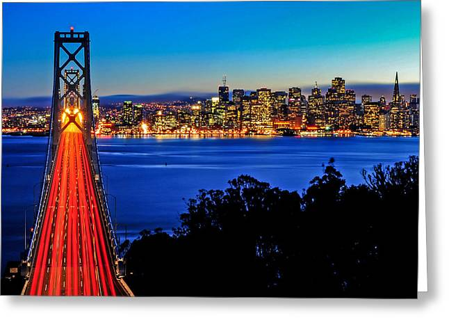 Above The Bay Bridge And San Francisco Skyline Greeting Card