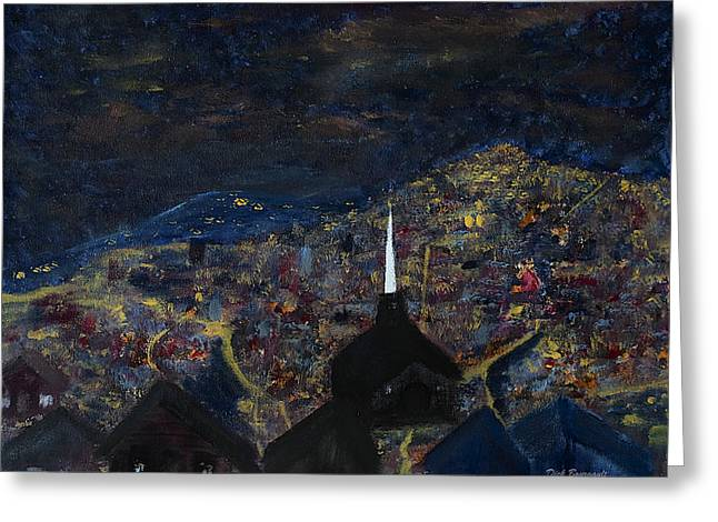 Above The City At Night Greeting Card