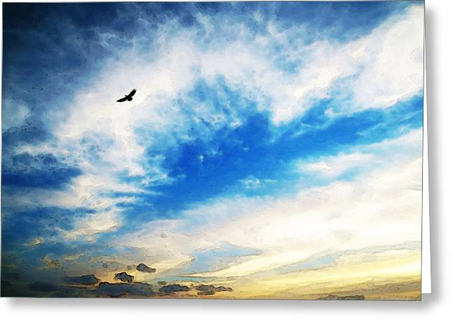 Above The Clouds - American Bald Eagle Art Painting Greeting Card by Sharon Cummings