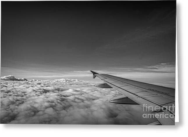 Above The Clouds Bw Greeting Card