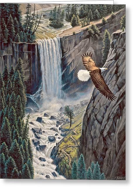 Above The Falls - Vernal Falls Greeting Card by Paul Krapf