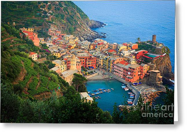 Above Vernazza Greeting Card by Inge Johnsson