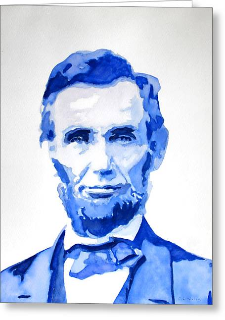 Abraham Lincoln A Study In Blue Greeting Card