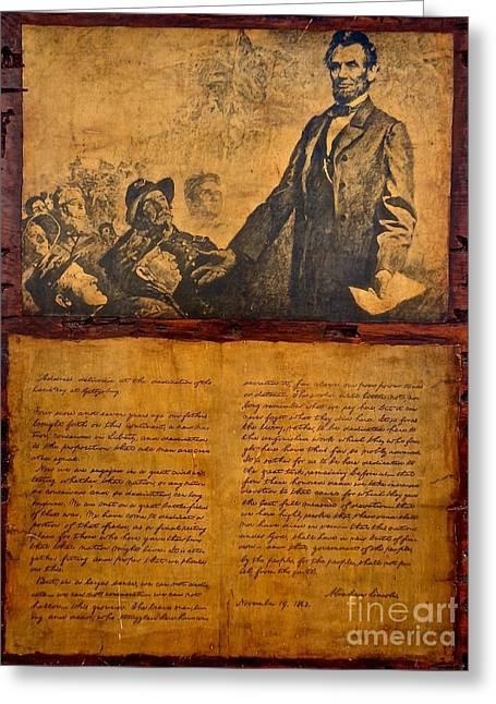 Abraham Lincoln The Gettysburg Address Greeting Card by Saundra Myles