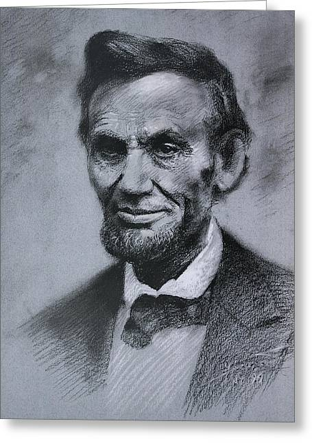 Greeting Card featuring the drawing Abraham Lincoln by Viola El