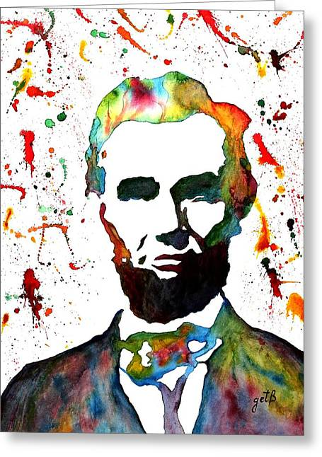 Greeting Card featuring the painting Abraham Lincoln Original Watercolor Painting by Georgeta Blanaru