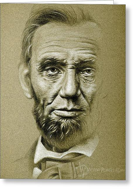 Abraham Lincoln Pencil Portrait Greeting Card by Victor Powell