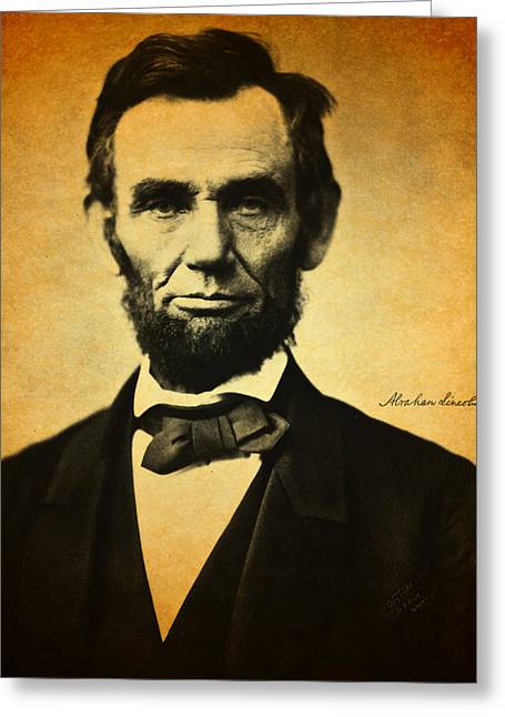 Abraham Lincoln Portrait And Signature Greeting Card by Design Turnpike