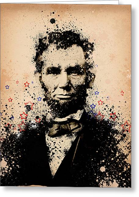 Abraham Lincoln Splats Color Greeting Card by Bekim Art