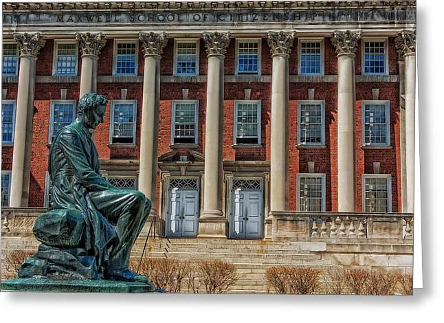 Abraham Lincoln Statue - Syracuse University Greeting Card by Mountain Dreams