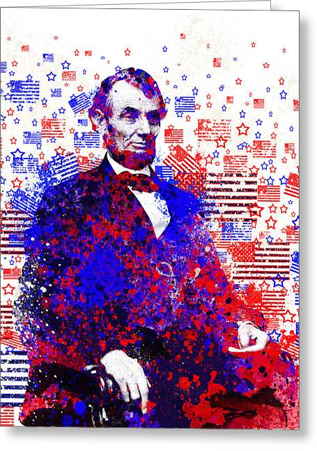 Abraham Lincoln With Flags 2 Greeting Card by Bekim Art