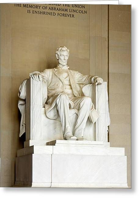 Abraham Lincolns Statue In A Memorial Greeting Card by Panoramic Images