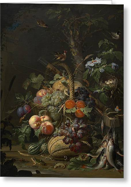 Abraham Mignon Still Life With Fruit Fish And A Nest C 1675 Greeting Card by MotionAge Designs